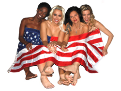 Four girls, one flag