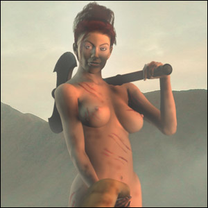 Nude woman with battle-axe