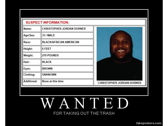 Christopher Dorner taking out the trash