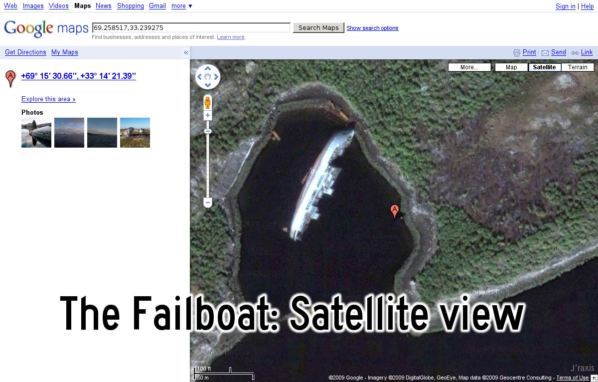 The failboat: Satellite view