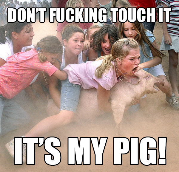 Little girl: It's my pig!