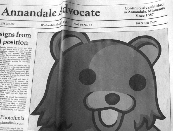 Pedobear in the newspaper