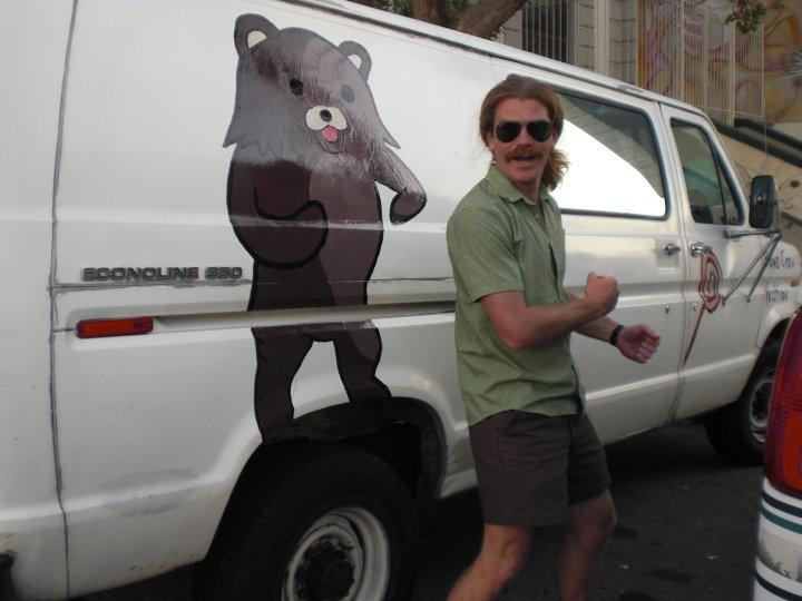 Pedobear painted on van