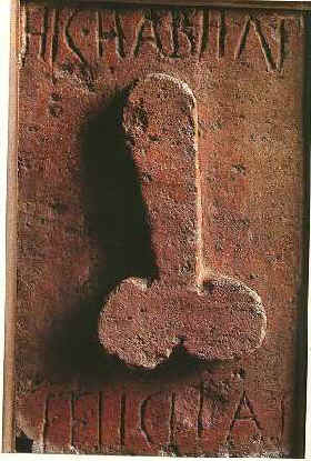Phallus wall carving