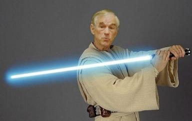 Ron Paul with a lightsaber
