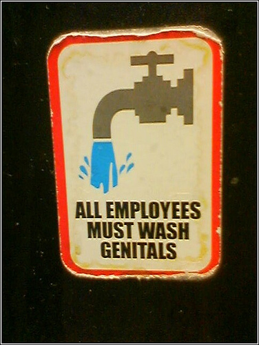 Employees must wash genitals